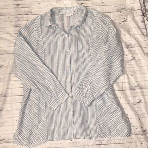 J Jill Love Linen Ladies  Blue White Button Up  XL